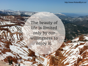 The beauty of life is limited only by our willingness to enjoy it