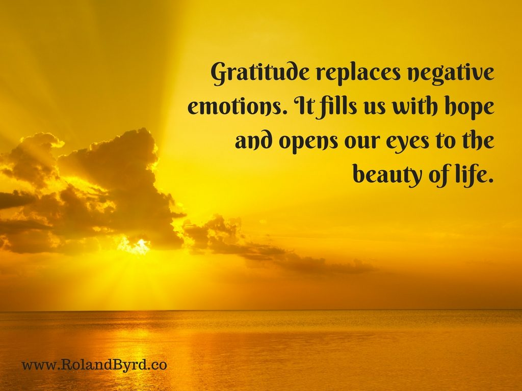 Gratitude replaces negative emotions. It fills us with hope and opens our eyes to the beauty of life.